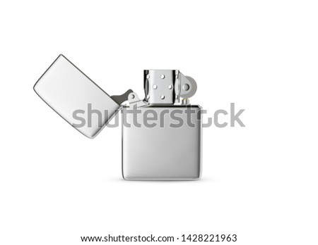 Metal style gasoline lighter. Surface closeup for your design. Windproof lighter isolated on white background. Blank cigar lighter mockup element. 3D illustration. ストックフォト ©
