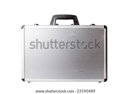 Metal suitcase isolated on white with clipping path