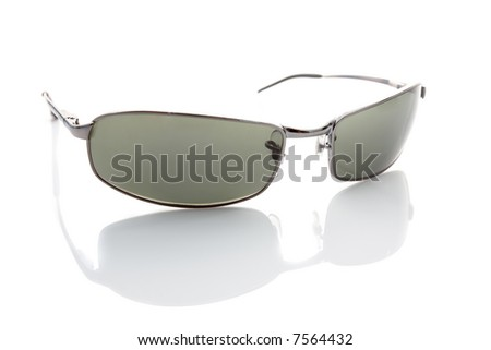 Metal sunglasses isolated on white with subtle reflection