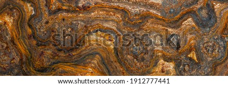 metal surface with curly rust, stains of different degrees of oxidation Foto d'archivio ©