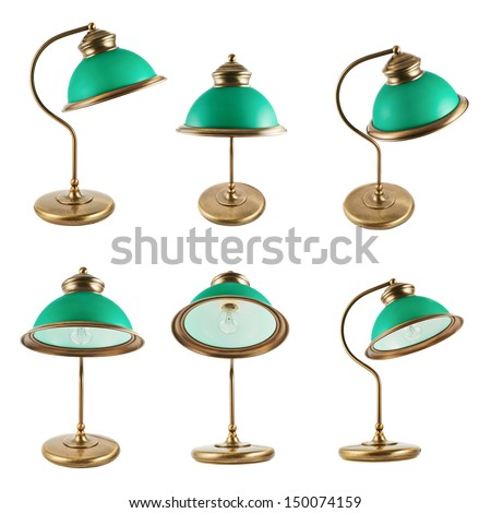 Metal table-lamp with a green lampshade isolated over white background, set of six foreshortenings