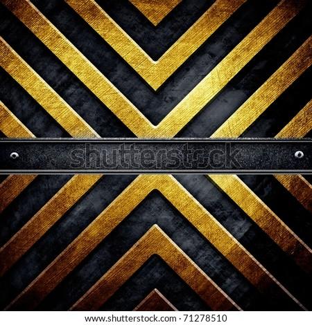 metal template with warning stripe