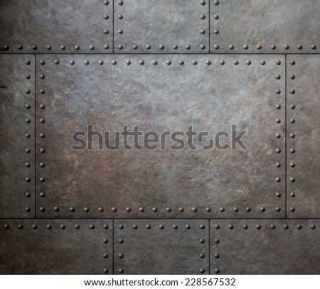 metal texture with rivets as steam punk background #228567532