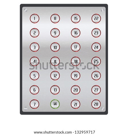 Metal textured elevator panel isolated on white background. 14th floor button is active.