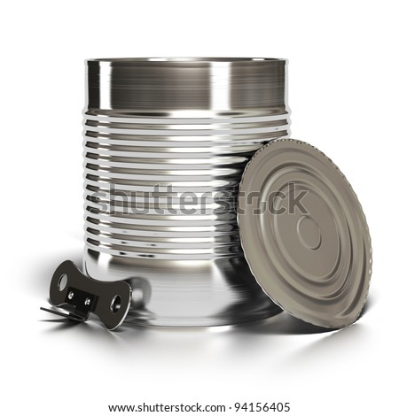 Metal tin can over white background with lid and can opener installed against it