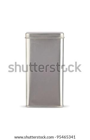 Metal tin on white background.