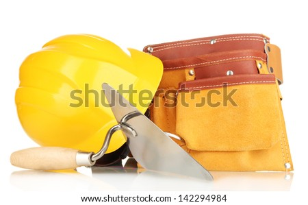 Metal tool for building and building site accessories isolated on white