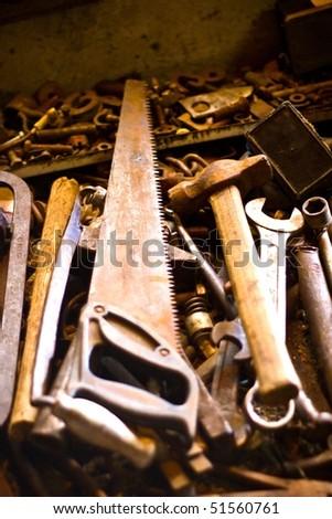 Metal tools useful in every garage, hand tools