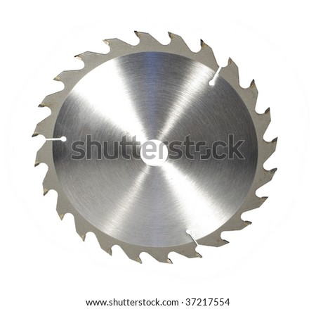 metal toothed disc saw on white background