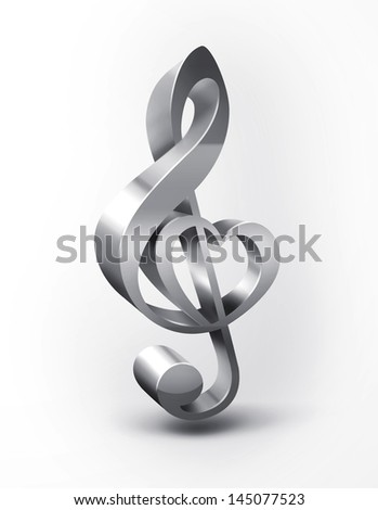 metal treble clef with the shape of the heart