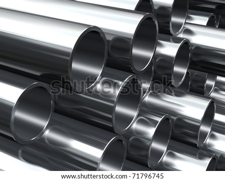 Metal tube - industrial background - stock photo