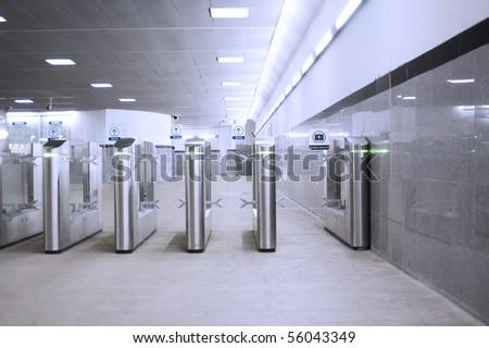 Metal turnstiles in the underground
