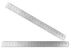 Metal twenty centimeters ruler isolated on white