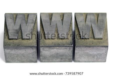 Metal type sorts from linotype at printshop spelling WWW. Provost, Alberta, Canada. #739587907