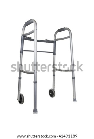 Metal walker used to assist when walking for support and security - path included