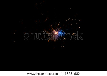 Metal Welding with sparks,Sparks from welding steel #1418281682