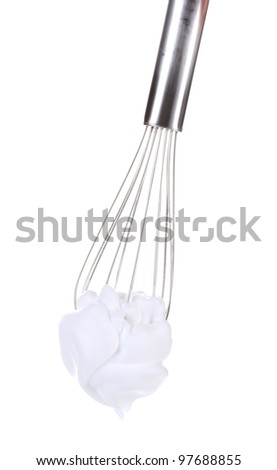 Metal whisk for whipping eggs with cream isolated on white