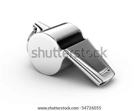 Metal whistle on a white background - stock photo
