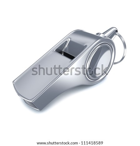 Metal Whistle on white background - stock photo