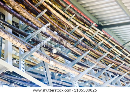 Metal wires in a bunch. Technological tubes on metal stands with tin labels. On the chemical production of unusual structures under the roof. Complex communications. Multicolored metal structures. #1185580825