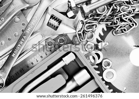 Metal working tools. Metalwork. Spanner, box and others tools. #261496376