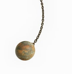 metal wrecking ball isolated on white background