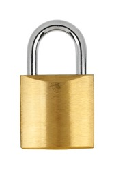 Metal yellow padlock isolated on white background with clipping path