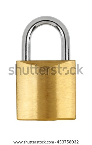 Metal yellow padlock isolated on white background with clipping path #453758032