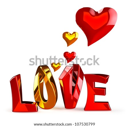 metalic 3D word LOVE with hearts on a white background