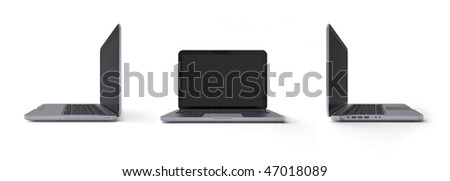Metalic laptop 3-in-1 views (3d isolated objects on white background, it series)