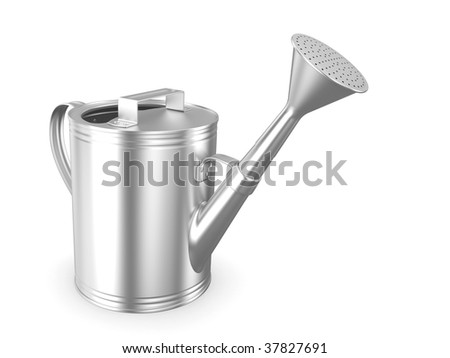 Metalichesky garden watering can on a white background