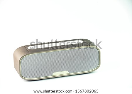 Metall wireless speaker in white background. Сток-фото ©