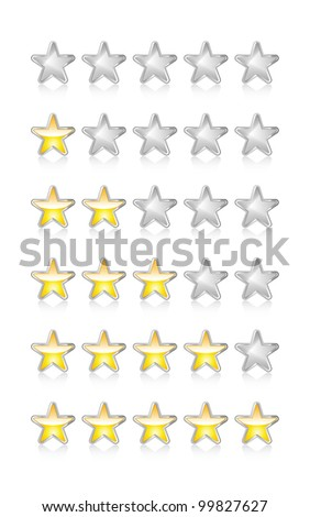 Metallic and glossy rating stars on white with reflection. Raster. - stock photo