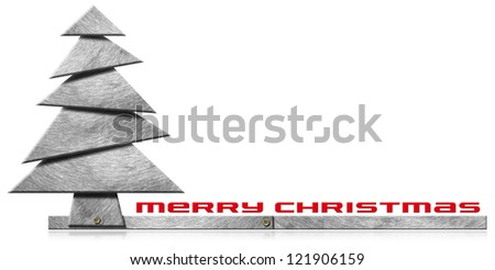 Metallic and Stylized Christmas Tree / Metallic Merry Christmas tree with bolts heads on white background