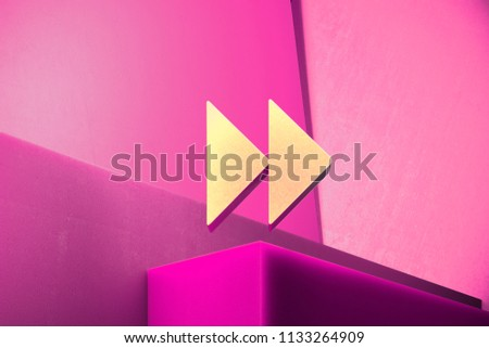 Metallic Arrow Forward Icon on the Magenta Background. 3D Illustration of Metallic Arrow, Forward, Next, Play, Right Icon Set With Color Boxes on Magenta Background.