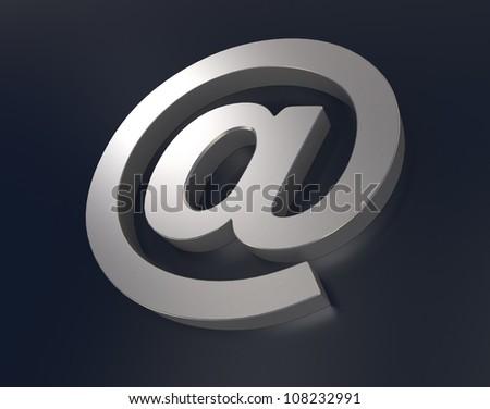 metallic at symbol on dark background