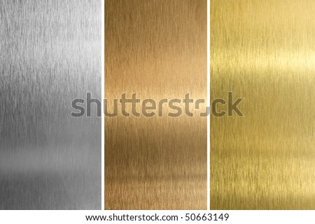 Metallic background textures. Brushed metal collection: gold, silver, bronze.