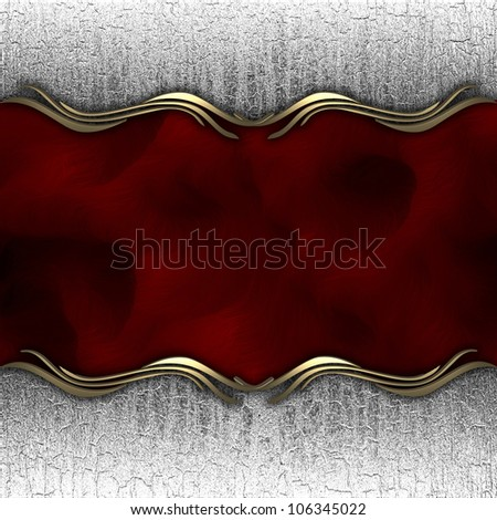 metallic background with a red nameplate