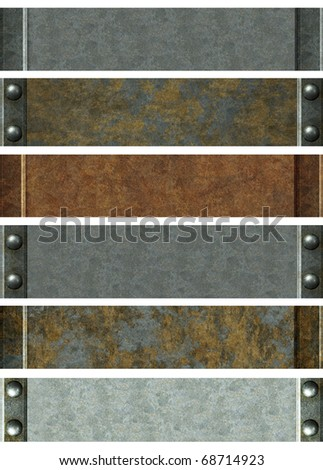 Metallic banners with grey metal and rust texture