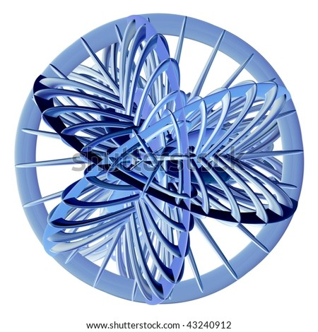 Metallic blue abstract 3D sculpture on white background