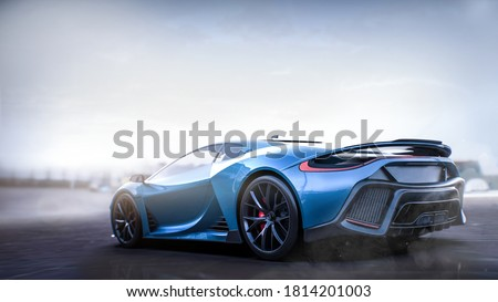 Metallic blue sports car, rear view (non-existent car design, full generic), tail lights detail- with grunge overlay - 3d illustration