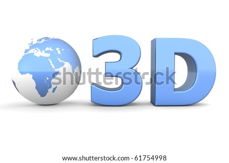 metallic blue word 3D with a 3D globe - front view