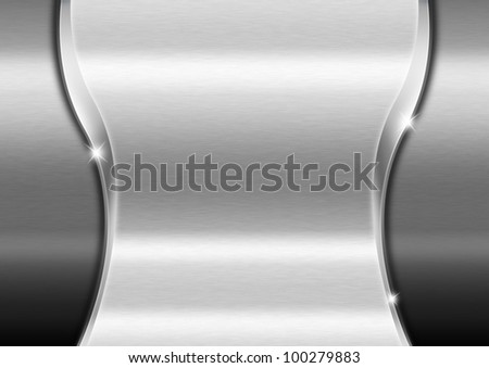 Metallic Business Background / Metal template background with wave and reflections