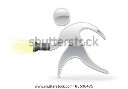 Metallic cartoon mascot character torch flashlight concept