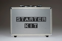 metallic case with starter kit wordsprinted on side panel