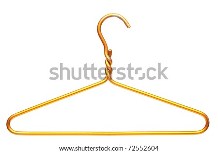 metallic clothes hanger isolated on white background