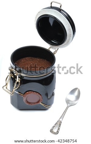 metallic coffee box - italian style on white background with spoon