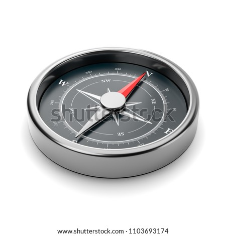 Metallic Compass with Red Magnetic Needle Pointing Toward the North on White Background 3D Illustration