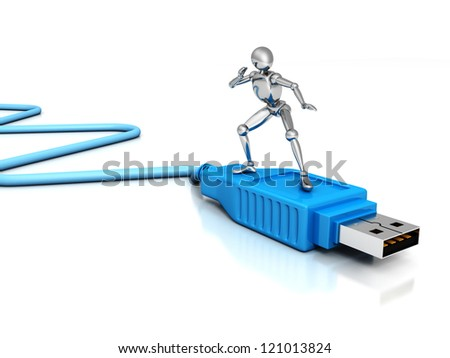 metallic 3d man surfing on blue usb connection cable