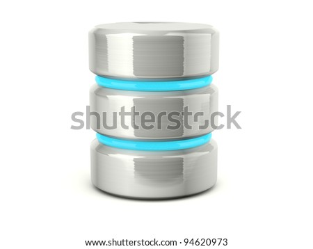 Metallic data base icon isolated on white